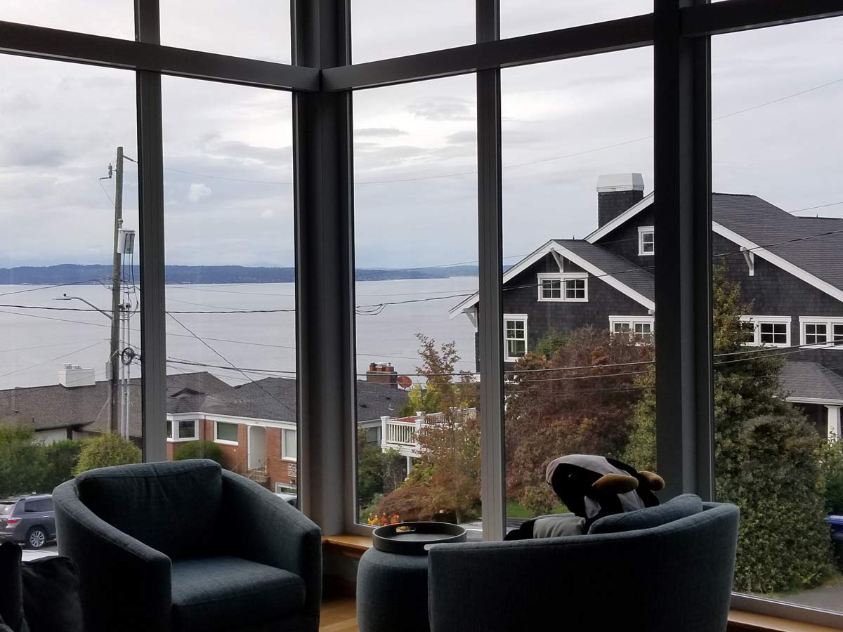 View of Seattle sound out windows of living room